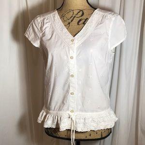 Fashion Bug White Embroidered Lace Peplum Blouse S